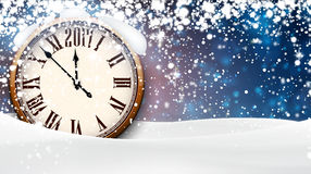 2017 New Year background with clock. 2017 New Year background with clock and snow. Vector illustration Stock Images
