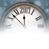 2017 New Year background with clock. 2017 New Year background with clock and snow. Vector illustration Stock Photo