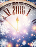 2016 New Year background. With clock and snowflakes. Vector illustration Stock Photography