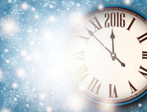 2016 New Year background. With clock and snowflakes. Vector illustration Stock Photo