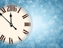 2016 New Year background. With clock and snowflakes. Vector illustration Royalty Free Stock Images