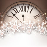 2017 New Year background with clock. 2017 New Year background with clock and snowflakes. Vector illustration Stock Photography
