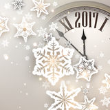 2017 New Year background with clock. 2017 New Year background with clock and snowflakes. Vector illustration Stock Images