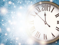 2017 New Year background. 2017 New Year background with clock and snowflakes. Vector illustration Royalty Free Stock Images