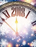 2018 New Year background. 2018 New Year background with clock and snowflakes. Vector illustration Stock Photo