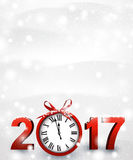 2017 New Year background with clock. 2017 New Year snowy background with red clock. Vector illustration Stock Image