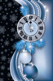 New Year background with clock, vector. Illustration Royalty Free Stock Photo
