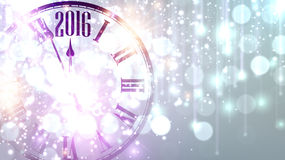 2016 New Year background. With clock. Vector paper illustration Royalty Free Stock Photography
