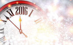 2016 New Year background. With clock. Vector paper illustration Stock Image