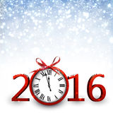 2016 New Year background. With clock. Vector paper illustration Stock Illustration