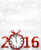 2016 New Year background. With clock. Vector paper illustration Stock Images