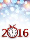 2016 New Year background. With clock. Vector paper illustration.r Royalty Free Stock Image