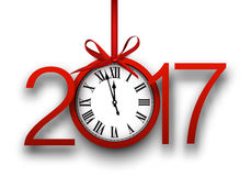 2017 New Year background with clock. 2017 New Year white background with red clock. Vector illustration royalty free illustration