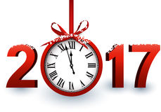 2017 New Year background with clock. 2017 New Year white background with red clock. Vector illustration stock illustration