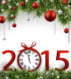 New year 2015 background with clock. Stock Images