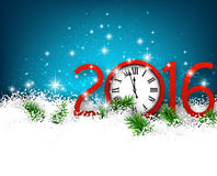 New year 2016 background with clock. Winter 2016 new year background with spruce twigs and vintage clock. Christmas banner with place for text Royalty Free Stock Image