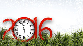 New year 2016 background with clock. Winter 2016 new year background with spruce twigs and vintage clock. Christmas banner with place for text. r Stock Image