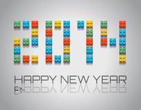 2014 New Year background with  coloful plastic blocks. 2014 Happy New Year background with  coloful plastic blocks with shadows Royalty Free Stock Image