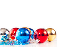 New year background with colorful decoration balls. And snowflakes Royalty Free Stock Photos