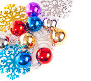 New year background with colorful decoration balls. And snowflakes Royalty Free Stock Photo
