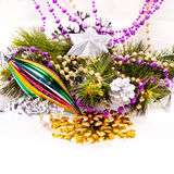 New year background with colorful decorations Stock Photos