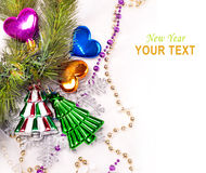 New year background with colorful decorations. New year background with colorful decorative fur tree for holiday design Royalty Free Stock Photography