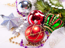 New year background with colorful decorations. New year background with beautiful color decorations and fur tree Stock Photos