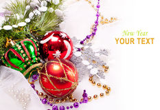 New year background with colorful decorations. New year background with beautiful color decorations and fur tree Royalty Free Stock Photography