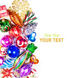 New year background with colorful decorations. New year background with beautiful color decorations and place for text Royalty Free Stock Image