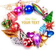 New year background with colorful decorations. New year background with beautiful color decorations and place for text Royalty Free Stock Photography