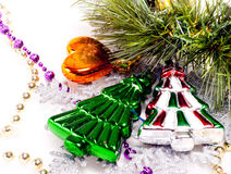 New year background with colorful decorative furtree. For holiday design Stock Images