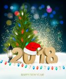 New Year background with 2018 and colorful garland. Royalty Free Stock Photography