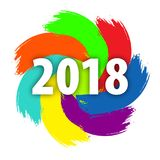 2018 New Year on the background of a colorful hand drawn brushstroke paint design element for presentations, flyers, leaflets, pos. Tcards and posters. Vector Royalty Free Stock Images