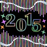 2015 New Year background with colorful LED lights and ribbons. On the black area Stock Photo