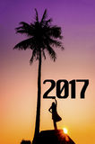 New Year 2017 background concept. Silhouette young muslim woman seating on the stone and holding 2017 years Royalty Free Stock Photo