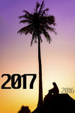 New Year 2017 background concept. Silhouette young muslim woman seating on the stone and looking 2017 years Royalty Free Stock Photos