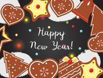 New Year background with cookies on black board. Top view. Vector illustration vector illustration