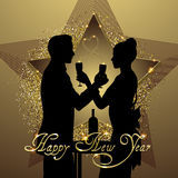 New year background couple silhouette sharing glass of champagne Royalty Free Stock Photo