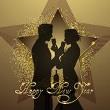 New year background couple silhouette sharing glass of champagne Stock Photo