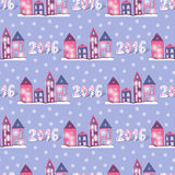 New year background with cute houses. Seamless Stock Photography