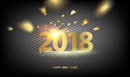 2018 New Year background. 2018 New year dark background. Calendar label with golden confetti. Holiday design template for invitation or greeting card. Vector Royalty Free Stock Photos