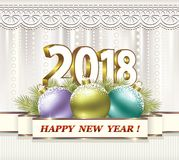 Happy New Year 2018. New Year background with date 2018 on multicolored balls Royalty Free Stock Photo
