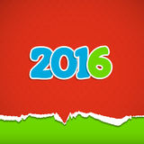 New year background. Date 2016 on a red background of torn paper. Vector illustration Royalty Free Stock Photos