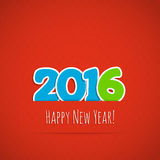 New year background. Date 2016 on a red background. Vector illustration Stock Images