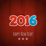 New year background. Date 2016 on a red wooden background. Vector illustration stock illustration
