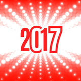 New Year background with the date 2017. White flash of light on a red background Stock Photo