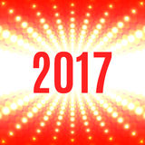New Year background with the date 2017 and white flash. Of light on a red Royalty Free Stock Images