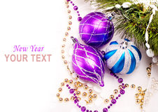 New year background with decoration balls Stock Photos