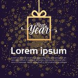 New Year Background Decoration Design Gift Box Over Shiny Night Sky. Vector Illustration Stock Photos