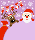 New Year background with deer and  Santa Claus Stock Photography